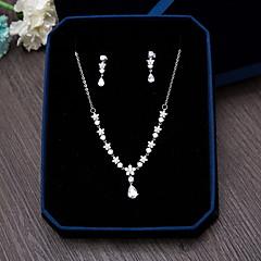 Mücevher 1 Kolye 1 Çift Küpe Kübik Zirconia Düğün Parti Özel Anlar Günlük Zirkon 1set Gümüş Düğün Hediyeleri