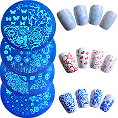 7pcs / set pochoirs chaud vente plaque d'estampage nail art mode coloré papillon belle fleur manucure cœur design outil ongles