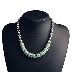 Femme Colliers chaînes Turquoise Strass Forme Géométrique Strass Turquoise Alliage Mode Argent Bijoux PourSoirée Anniversaire Quotidien