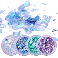 2g * 4 cutii fluorescente unghii flakies hârtie sticlă neregulate paillette unghii art glitter paiete fulgi