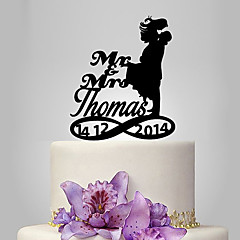 Personalized Acrylic Bride And Groom Kiss Wedding Cake Topper