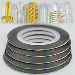 100pcs / box 1mm 20m Art und Weiseregenbogen funkelnde Folie, die Bandlinie Dekoration Nagelkunst diy Schönheitslaser silberne