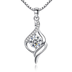 Women's Pendant Necklaces Sterling Silver Cubic Zirconia Unique Design Jewelry For Wedding Party Special Occasion Engagement 1pc