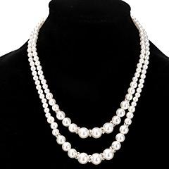 Жен. Девочки Ожерелья-цепочки Пряди Ожерелья Слоистые ожерелья Искусственный жемчуг Стразы Бижутерия Искусственный жемчуг Стразы Сплав