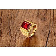 Herre Ring Rubin Vintage Personalisert Klassisk Edelsten Titanium Stål Firkant Formet Smykker Til Bryllup Fest & Aften Daglig Seremoni
