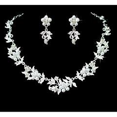 Dames Sieraden Set Bergkristal Bloemenstijl Imitatieparel Strass Legering Bloemvorm Voor Bruiloft Feest Speciale gelegenheden Verjaardag