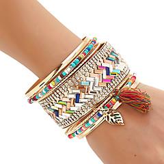 Mulheres Bracelete Pulseiras Algema Enrole Pulseiras Rock Confeccionada à Mão Multi Camadas bijuterias Moda Estilo Boêmio Materiais