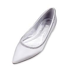 Feminino Sapatos De Casamento Conforto Bailarina Cetim Primavera Verão Casamento Social Festas & Noite Pedrarias Corrente RasteiroRoxo