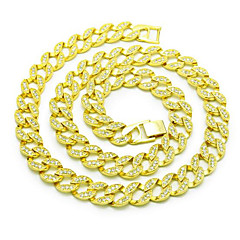 Lucky Doll Men's 15mm Chain Necklaces Rhinestone Gold Plated Alloy Basic Circular Punk Jewelry For Birthday Gift Daily Office & Career