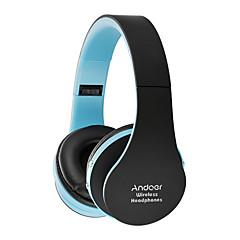 Andoer preklopivi Bluetooth slušalice stereo bluetooth 3.0 super bas slušalice 3.5mm žičani slušalice hands-free w / mic bijela s crvenom