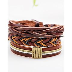 Heren Dames Wikkelarmbanden Lederen armbanden Punk-stijl Verstelbaar PERSGepersonaliseerd Rock Multi-ways Wear Leder Lijnvorm Sieraden