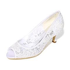 Damă pantofi de nunta Balerini Basic Primăvară Vară Dantelă Plasă Nuntă Party & Seară Toc Stiletto Alb Negru Roz Cristal 5 - 7 cm