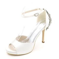 Damă pantofi de nunta Balerini Basic Primăvară Vară Satin Nuntă Party & Seară Piatră Semiprețioasă Toc Stiletto Mov Rosu Albastru Maro
