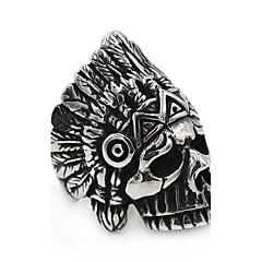 Naisten Miesten Midi-sormukset Cubic Zirkonia Yksinkertainen Bohemia Style Hip-Hop Classic Ruostumaton teräs Skull shape Korut