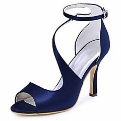 Dame bryllup sko Basispumps Strekksateng Sommer Bryllup Fest/aften Spenne Stiletthæl Svart Mørkeblå Blå Mørk Lilla 7,5 - 9,5 cm