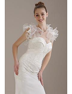 Short Sleeves Organza  Lace  Bridal Jacket / Wedding Wrap (WSM0398)