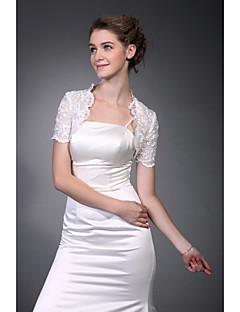Short Sleeves  Tulle  Lace Bridal Jacket / Wedding Wrap