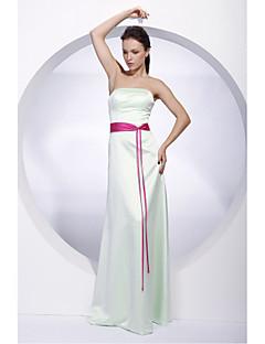 Lanting Bride® Floor-length Satin Bridesmaid Dress Sheath / Column Strapless Plus Size / Petite with Sash / Ribbon