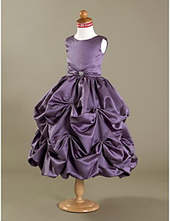 Ball Gown Tea-length Flower Girl Dress - Satin Sleeveless Scoop with Crystal Detailing / Draping / Pick Up Skirt