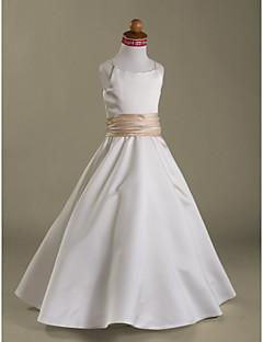 Lanting nevěsta ® A-line / princezna podlahy délka květin šaty - satén bez rukávů špagetová ramínka s volánky / ruching
