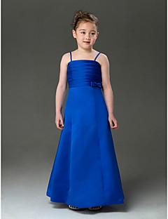 Lanting Bride A-line / Princess Floor-length Flower Girl Dress - Satin Sleeveless Spaghetti Straps with Bow(s) / Ruching