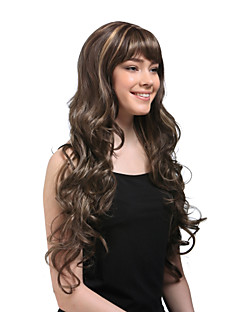 super-rizado largo peluca de cabello castaño ms195-SRT (tslr1026-11)