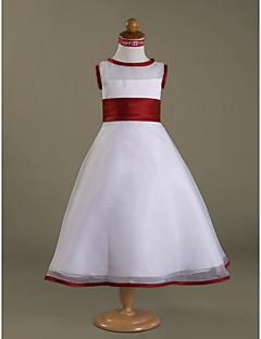 LAN TING BRIDE A-line Princess Floor-length Flower Girl Dress - Organza Shantung Scoop with Buttons Ruffles