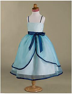 Ball Gown Tea-length Flower Girl Dress - Organza Satin Spaghetti Straps with Bow(s) Ruffles Sash / Ribbon