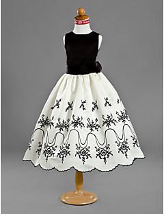 A-line Princess Tea-length Flower Girl Dress - Satin Jewel with Appliques Flower(s) Ruffles