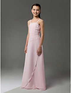 Floor-length Chiffon Junior Bridesmaid Dress - Blushing Pink Sheath/Column Spaghetti Straps
