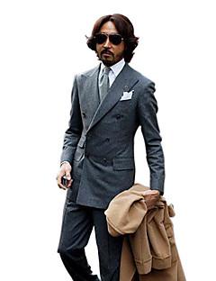 Double-Breasted 4 Button Side-vented Peak Lapel Wool Groom Wear/ Tuxedo/ Men's Suit Jacket and Pants(PMSSXZ0069)