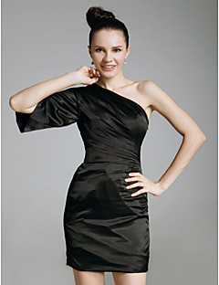 Cocktail Party / Holiday Dress - Black Plus Sizes / Petite Sheath/Column One Shoulder Short/Mini Charmeuse