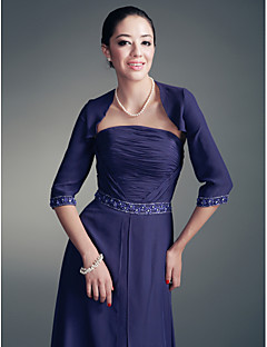 3/4-length Sleeves Chiffon Special Occasion Evening Jacket/Wedding Wrap Bolero Shrug