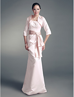 Lanting Trumpet/ Mermaid Square Floor-length Satin Mother of the Bride Dress With A Wrap
