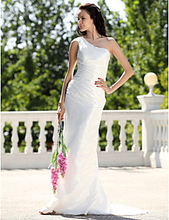 Sheath/Column Wedding Dress - Ivory Sweep/Brush Train One Shoulder Taffeta