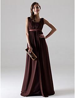 신부 들러리 드레스 - 쵸콜렛 A라인 바닥 길이 V넥 쉬폰 플러스 사이즈