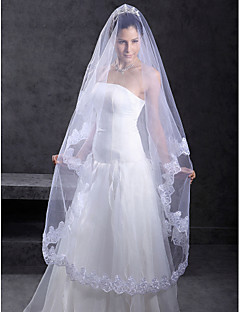 Vjenčani velovi One-tier Chapel Burke Čipka aplicirano Edge 118,11 u (300cm) Til Bijela Bijela / SlonovačaRetka, Ball haljina, princeza,