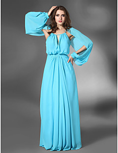 Formal Evening/Military Ball Dress - Pool Plus Sizes Sheath/Column Jewel Floor-length Chiffon/Stretch Satin