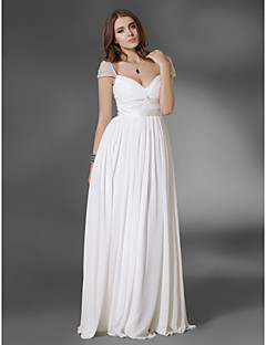 Prom/Military Ball/Formal Evening Dress - White Plus Sizes A-line/Princess V-neck/Off-the-shoulder Floor-length Chiffon