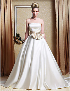 Lanting A-line/Princess Plus Sizes Wedding Dress - White Chapel Train Strapless Satin