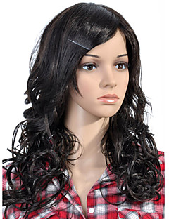 sin tapa larga de alta calidad sintético negro peluca de pelo rizado (0463-lpp587)