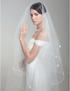 Bryllupsslør En-lags Fingerspids Slør Flosset Kant 86,61 i (220cm) Tyl Hvid Hvid / ElfenbenA-linje, Balkjole, Prinsesse, Kappe / Række,