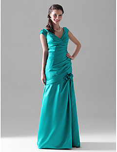 Floor-length Satin Bridesmaid Dress Trumpet / Mermaid V-neck Plus Size / Petite with Flower(s) / Side Draping / Ruching
