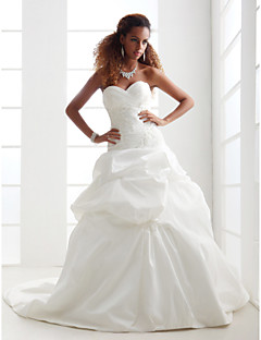 Lanting Bride® A-line / Princess Petite / Plus Sizes Wedding Dress - Classic & Timeless / Elegant & Luxurious Chapel Train Sweetheart