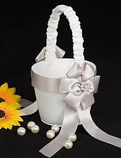 blomst pige kurv i hvid satin med imiteret skrællen