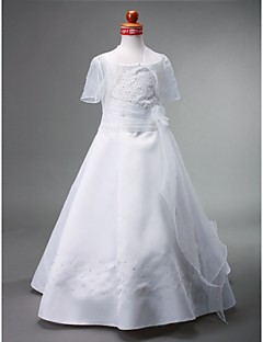 A-line Bateau Floor-length Satin Flower Girl Dress
