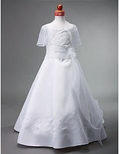 Lanting Bride A-Linie / Princess Na zem Šaty pro květinovou družičku - Satén Bez rukávů Bateau s Korálky / Květina(y) / Šerpa / Stuha