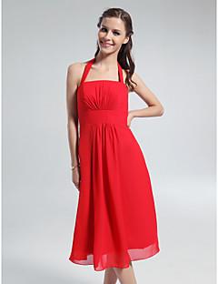 Lanting Knee-length Chiffon Bridesmaid Dress - Ruby Plus Sizes / Petite A-line Halter