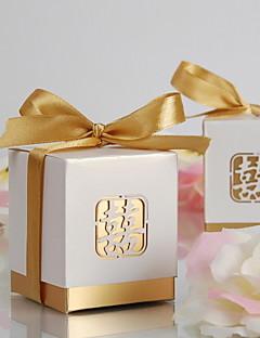 laser-gesneden dubbel geluk voor box-goud satijn (set van 12)
