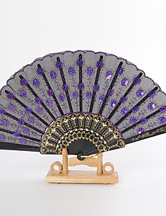Shining Peacock Design Hand Fans (set of 6)